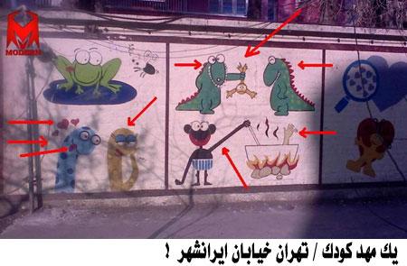 عکس دیوار یک مهد کودک در تهران و یک مهد کودک در اروپا !