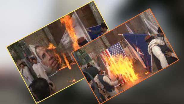 مردم  پاکستان  پرچم آمریکا و  تصویر  اوباما رابه آتش کشیدند