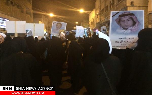 تظاهرات باشکوه اهالی قطیف در اربعین شهادت النمر + تصاویر