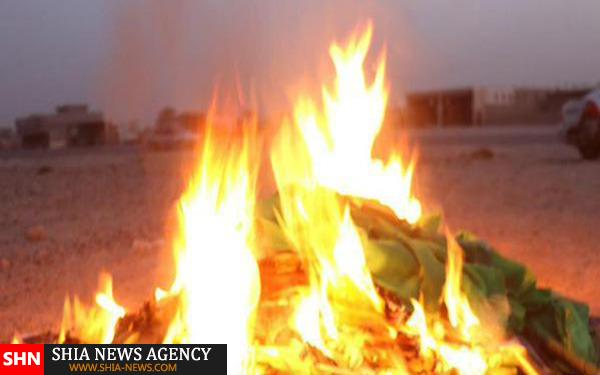 توهین و آتش زدن شعائر حسینی توسط داعش + تصاویر