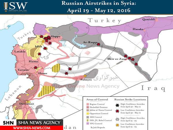 جنگندههای روسیه چه مناطقی از حلب را بمباران کردند + نقشه