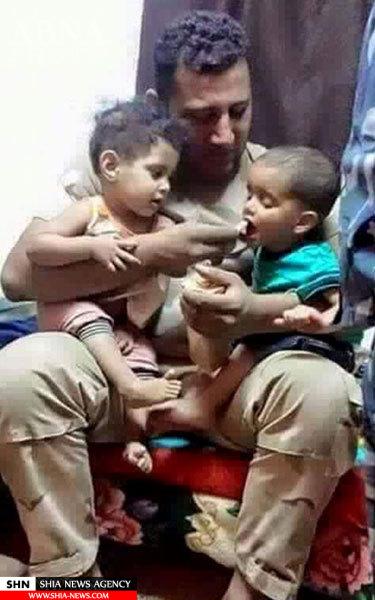 سرباز شیعه عراقی و کودکان جنگ زده فلوجه+ تصویر