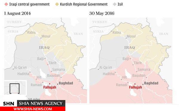 نقشه مقایسه مناطق تحت اشغال داعش در عراق بین سالهای 2014 و 2016