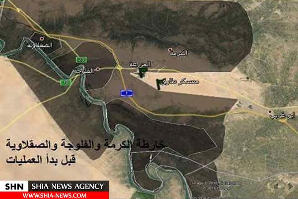 مقایسه مواضع داعش قبل و بعد از آغاز عملیات فلوجه + نقشه