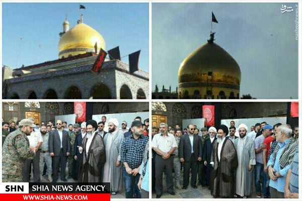 تصویر تعویض پرچم گنبد حرم حضرت زینب (س)