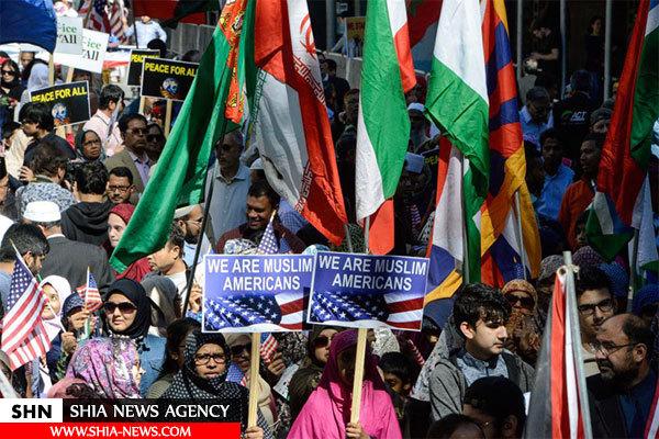 پرچم ایران در راهپیمایی مسلمانان آمریکا